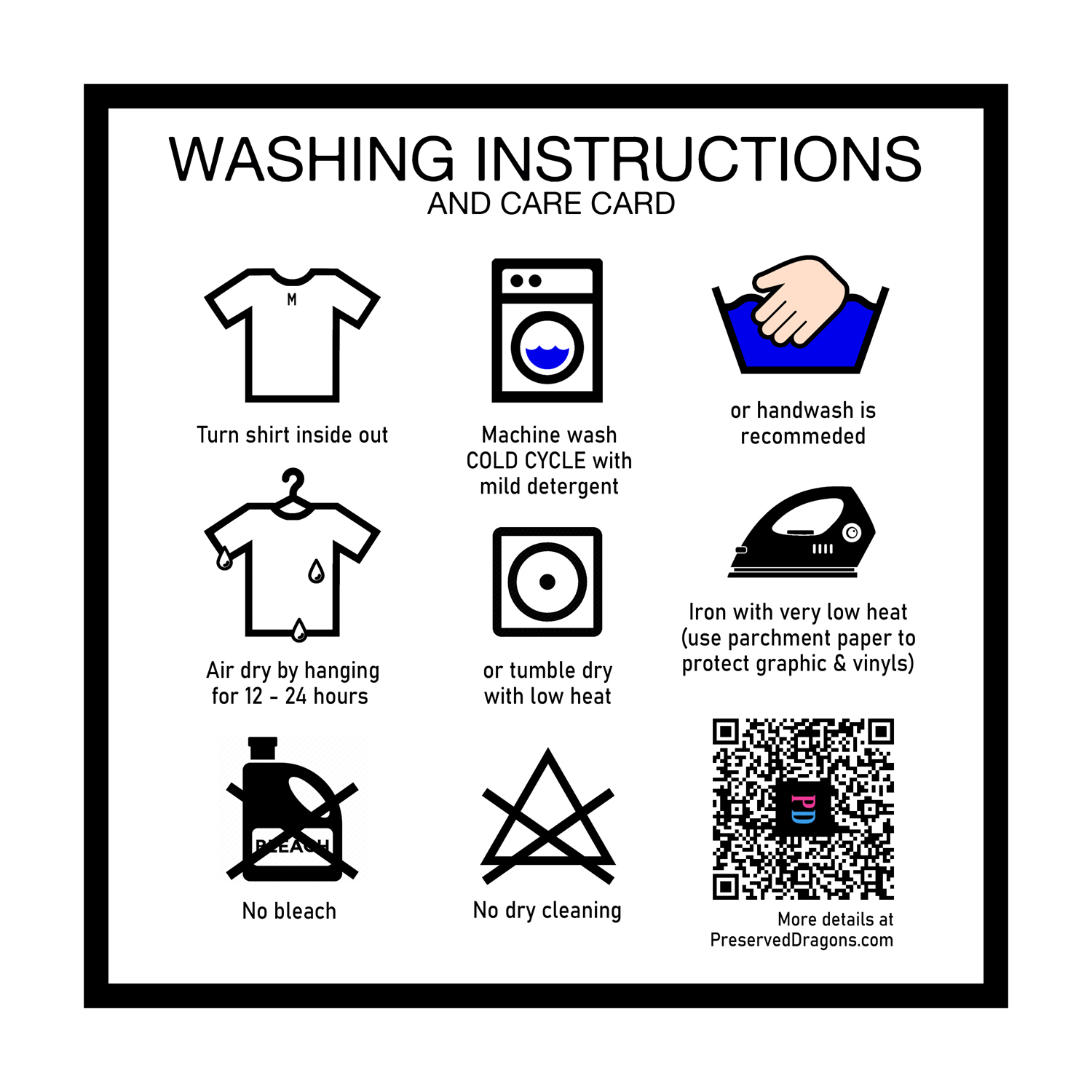 washing instructions and care card