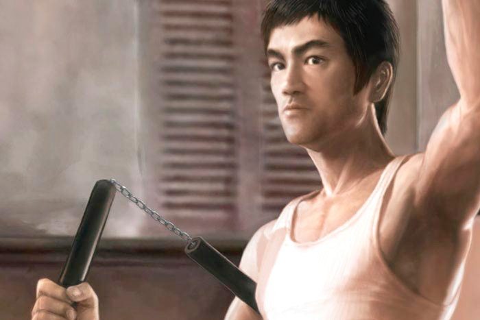 5 Seconds To Run cropped image from poster of Bruce Lee as Tang Lung holding nunchaku in The Way of the Dragon by Marten Go aka MGO