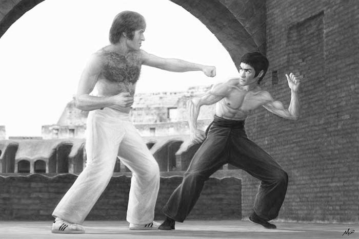 Fight of the Century cropped image from poster of Bruce Lee as Tang Lung fighting Chuck Norris as Colt in The Way of the Dragon by Marten Go aka MGO