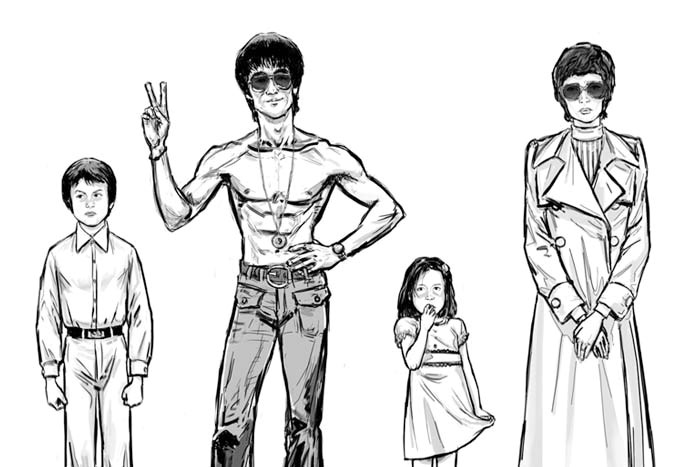 Preserved Dragon manga comic book image of Bruce Lee and family illustration by Marten Go aka MGO
